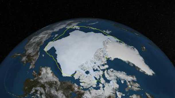 his is a depiction of Arctic sea ice on Sept. 12, 2013, the day before NSIDC estimated sea ice extent hit its annual minimum, with a line showing the 30-year average minimum extent in yellow. The data was provided by the Japan Aerospace Exploration Agency from their GCOM-W1 satellite's AMSR2 instrument. Credit: NASA Goddard's Scientific Visualization Studio/Cindy Starr