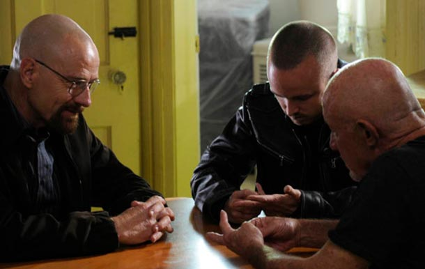 Walter White (Bryan Cranston), Jesse Pinkman (Aaron Paul) and Mike (Jonathan Banks)