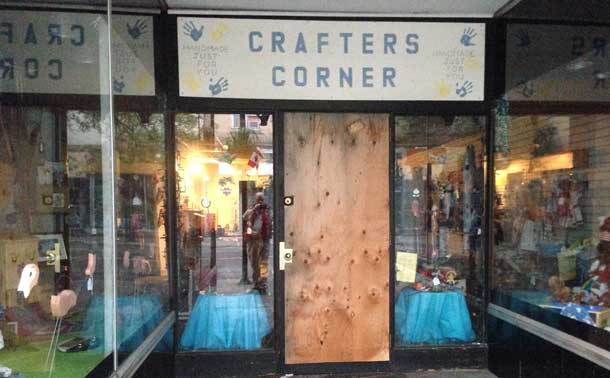 An overnight Break in on Victoria Avenue East left the door at Crafters Corner smashed