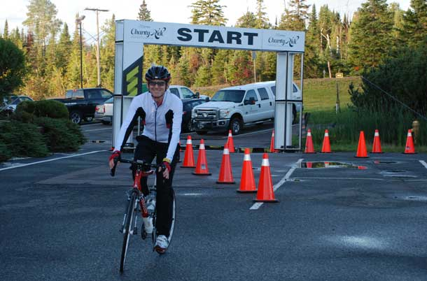 David Knutson, Chair, Board of Directors of the Thunder Bay Regional Health Sciences Foundation, joined riders for the 100 km Caribou Charity Ride.