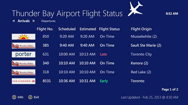 Using the Flight Status app on your Tbaytel Digital TV lets you keep track of the flight arrivals.