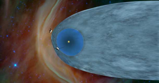 This artist's concept shows the general locations of NASA's two Voyager spacecraft. Voyager 1 (top) has sailed beyond our solar bubble into interstellar space, the space between stars. Its environment still feels the solar influence. Voyager 2 (bottom) is still exploring the outer layer of the solar bubble. Image credit: NASA/JPL-Caltech