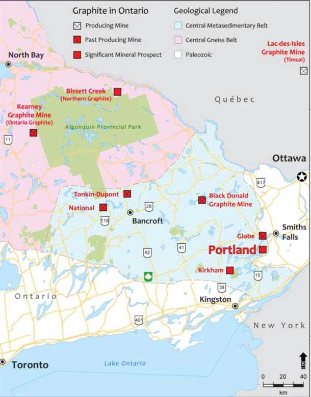 Map of Pistol Bay's Ontario Graphite exploration and drill sites