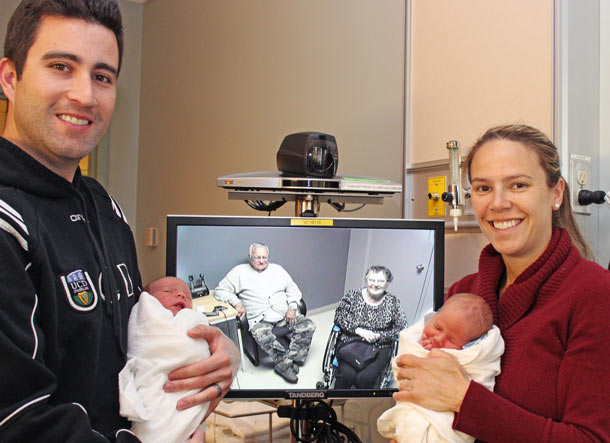 Thanks to tele-visitation, Christopher and Jillian Courtis, who travelled to Thunder Bay for the birth of their twins, were able to visit with the babies' great-grandparents in Rainy River.