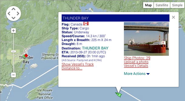 MV Thunder Bay on Ship Map