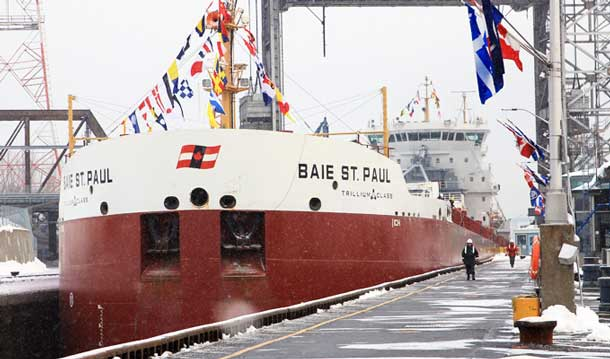 "The Baie St. Paul is the first of CSL's Trillium Class of vessels, which sets new standards in operational and energy efficiency, reliability and environmental protection,"" said CSL's President Louis Martel. ""The Baie St. Paul is 15% more fuel efficient than CSL's previous class of ships – vessels that were already among the most efficient in the Lakes – and will save approximately 750 tonnes of fuel per year, amounting to a yearly carbon emission reduction of 2,400 tonnes."""