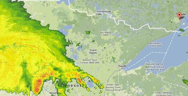 Weather system has moved closer to Thunder Bay and Northwestern Ontario