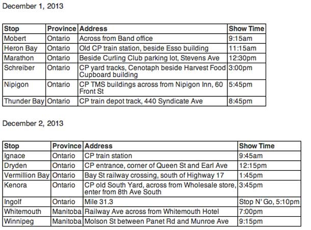 CP Holiday Train Schedule
