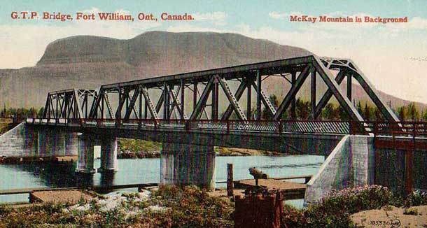 Postcard image of the James Street Bridge