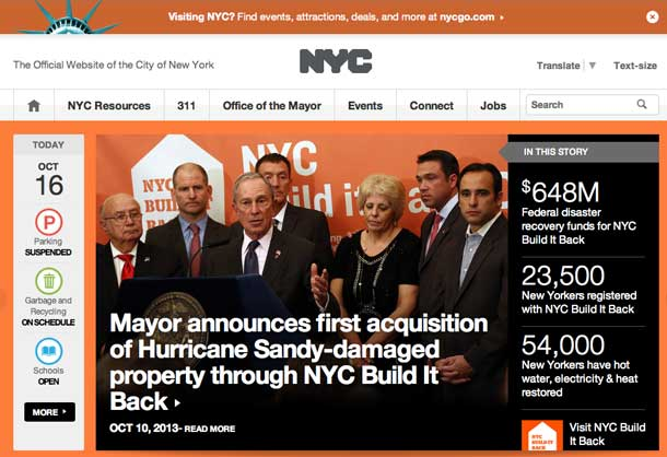New York City has a new website that is interactive an engaging