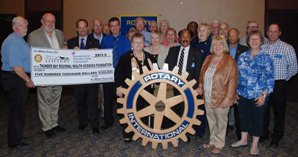 Members of the Fort William Rotary Club are proud to have made a $500,000 commitment to the Exceptional Cancer Care Campaign, through proceeds from their Annual House Lottery. Members are saying thanks to the many volunteers who make the House Lottery possible.