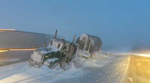Even the big rigs can run off the roads when the ice and snow take over - RCMP Photo