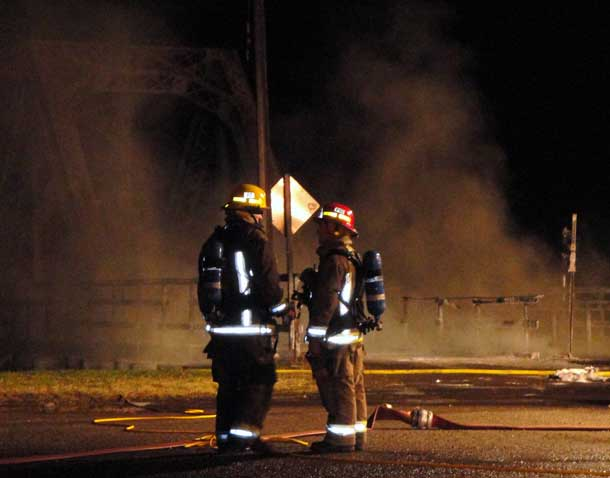 Police and fire crews shut down the bridge as plumes of dark smoke and fire were seen coming from the bridge.