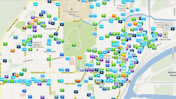 Crime Map showing incidents from September 1-October 10 2013 in Thunder Bay