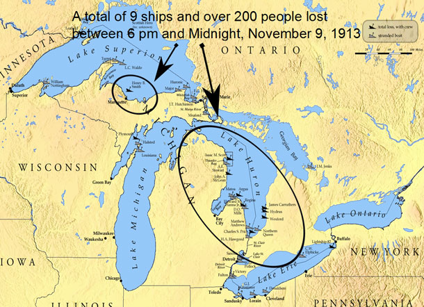 A total of nine ships and over 200 people were lost during the White Hurricane - the largest inland maritime disaster in U.S. history.