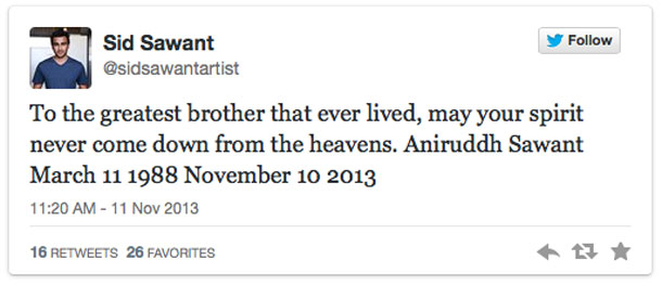 Tweet from Sid Sawant the brother of the pilot killed in the Bearskin air crash in Red Lake