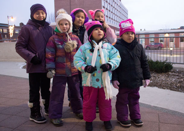 Bundled up to stay warm... keeping smiles at City Hall the Children were excited.