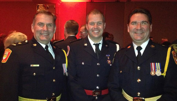 Chief J.P. Levesque and Deputy Chief Andy Hay were on hand when Cst. Armstrong Received his medal