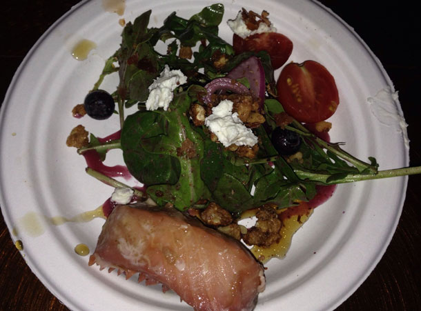 Jack Daniels Smoked Salmon with a arugula, chevre and a blueberry salad