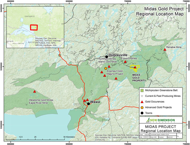 Map of the Midas Gold Mining Project