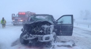 Winter has hit hard in Alberta. The QEII Highway was closed earlier today.