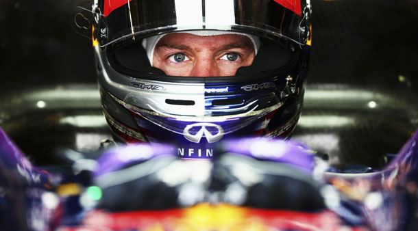 Sebastian Vettel gets ready for practice for FIA Formula One World Championship 2013 at the Circuit of The Americas in Austin, United States.