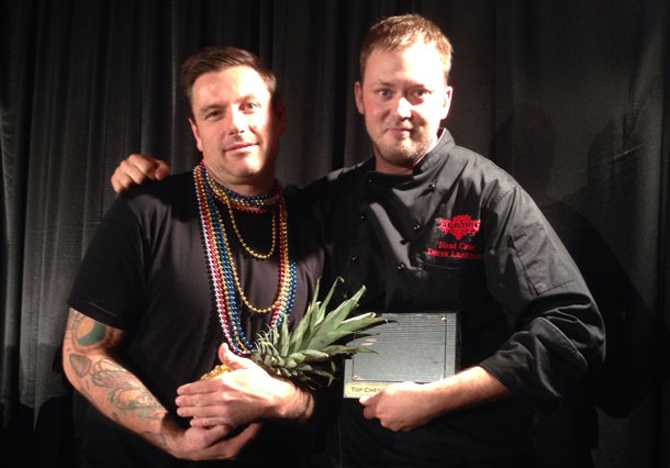 Chuck Hughes congratulating Foundry's Derek Lankinen after being awarded Top Chef 2013