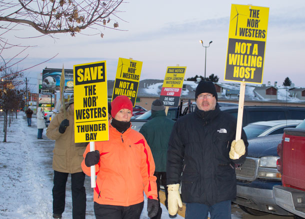 A chilly Thunder Bay Morning last November did not stop Nor'Wester supporters from rallying to save the Mountains.