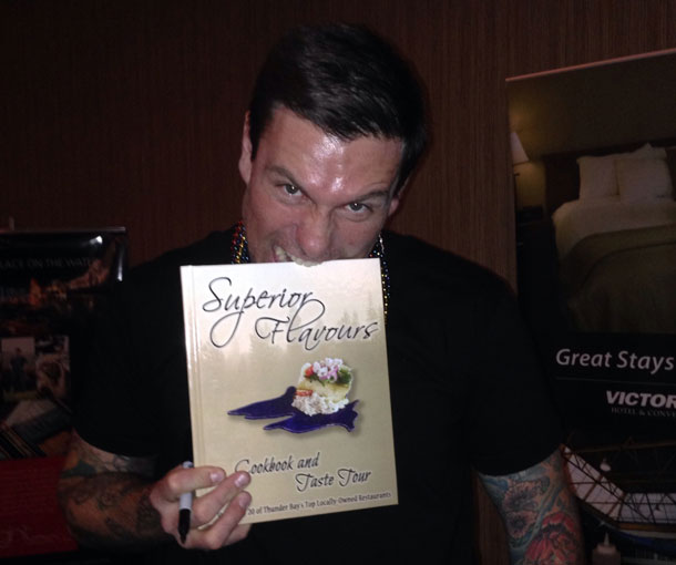 Chef Chuck Hughes taking a bite out of local cookbook Superior Flavours