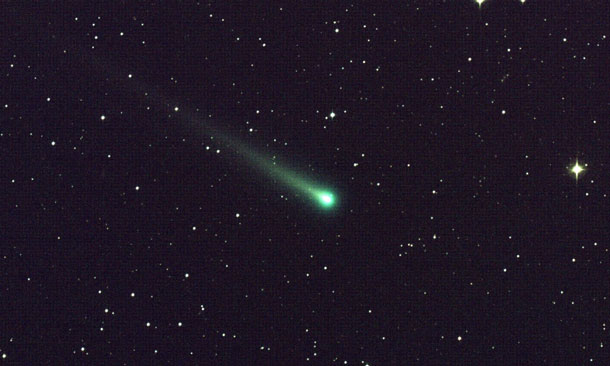 "Comet ISON shines in this five-minute exposure taken at NASA's Marshall Space Flight Center on Nov. 8 at 5:40 a.m. EST. The image has a field of view of roughly 1.5 degrees by 1 degree and was captured using a color CCD camera attached to a 14"" telescope located at Marshall. At the time of this picture, Comet ISON was 97 million miles from Earth, heading toward a close encounter with the sun on Nov. 28. Located in the constellation of Virgo, it is now visible in a good pair of binoculars. Image credit: NASA/MSFC/Aaron Kingery"