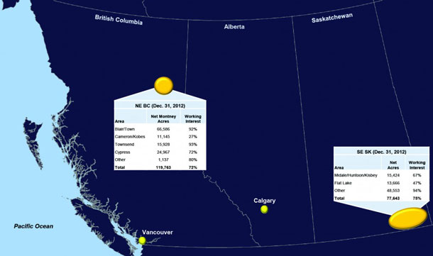 TSX:PPY Map of Painted Pony Resources operations