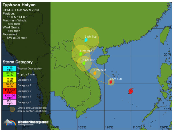 Typhoon Haiyan tracking across Philippines and headed to Vietnam