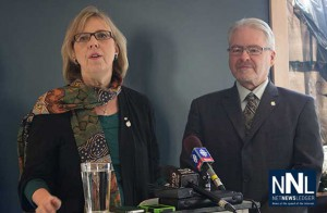 Green Party leader Elizabeth May and Bruce Hyer as the Thunder Bay Superior North MP goes Green.
