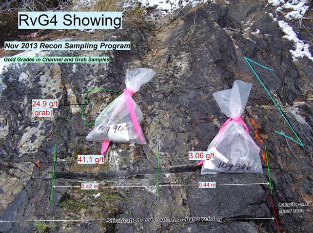 Three samples were cut across the same zone a few metres to the southeast. One sample graded 53.8 g/t and combined with channel results from the summer program gives a composite assay of 12.35 g/t over 1.86 metres.