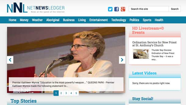 The New NetNewsLedger site was designed here in Thunder Bay by Sencia Canada.
