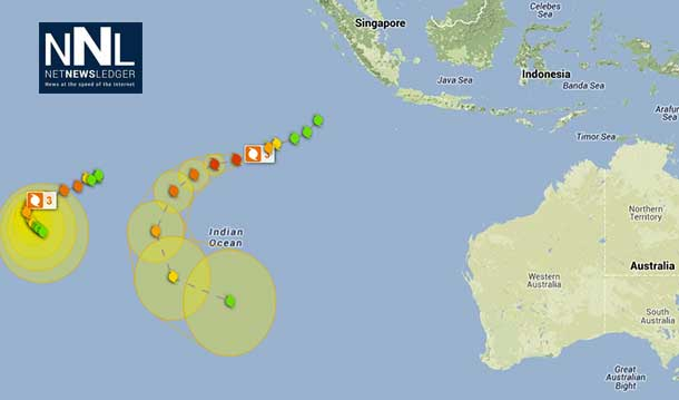 Tracking map for Tropical Cyclone Amara - December 2013