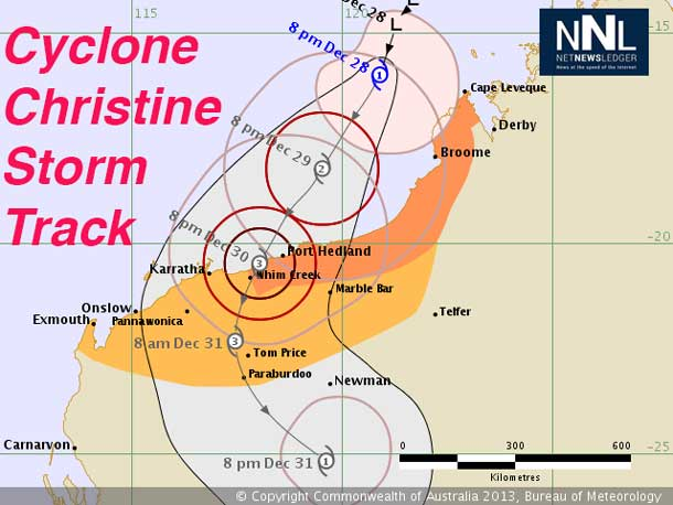 Cyclone Christine is churning off the coast of Australia
