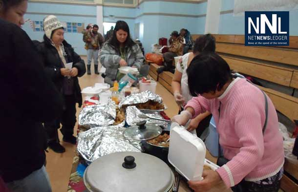 After the parade, the community of Attawapiskat gathered for fellowship and food. Photo by Rosiewoman Cree.