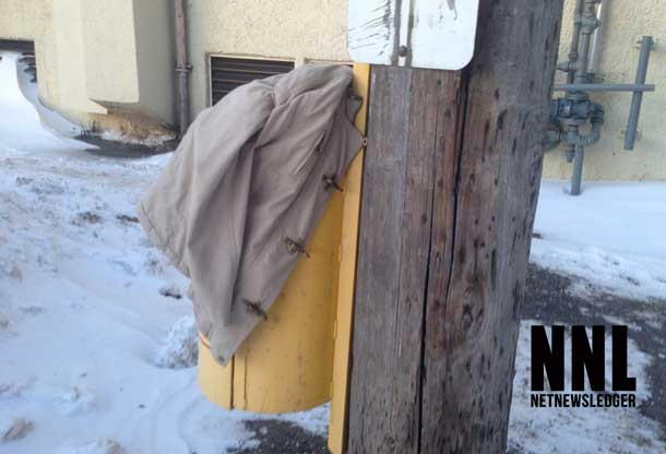 A good Samaritan or a forgotten jacket? At Minus 30c in Thunder Bay one hopes it is a kind soul.