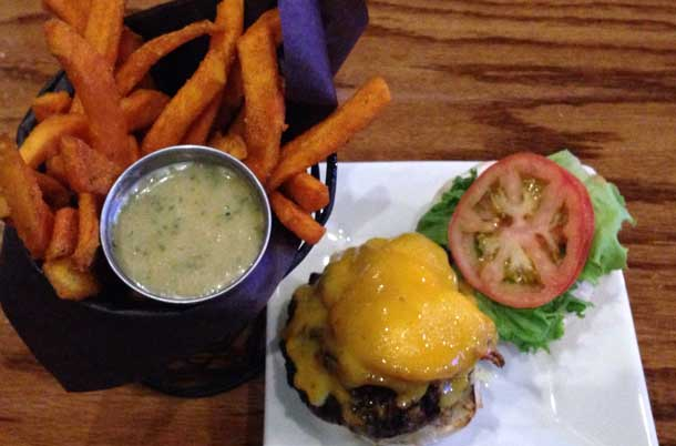 Foundry Burger and sweet potato fries - Make a donation to Shelter House and your meal is extra tasty.