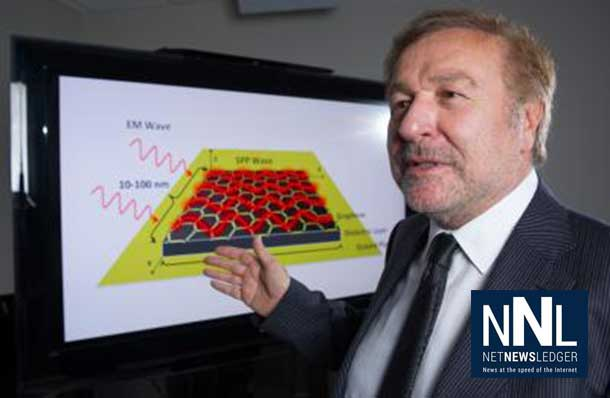 Georgia Tech professor Ian Akyildiz poses with a schematic showing how surface plasmon polariton (SPP) waves would be formed on the surface of tiny antennas fabricated from graphene. The technology could allow networks of nanomachines to communicate. Credit: Georgia Tech Photo: Rob Felt