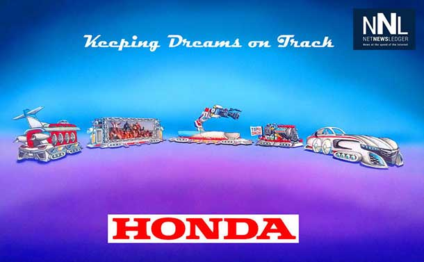 "Honda's float, ""Keeping Dreams on Track"" leads off the Rose Parade in Pasadena, Calif., on New Years Day, Jan. 1, 2014. The float, designed as a dream-like train, is the longest in the 125 year-history of the parade, measuring an unprecedented 274 feet. The float is powered by a specially-configured Honda hybrid engine and features re-creations of the Acura NSX sports car, HondaJet and ASIMO, the world's most advanced humanoid robot. (Photo/American Honda Motor Co., Inc.)"