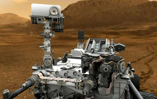 "This artist concept features NASA's Mars Science Laboratory Curiosity rover, a mobile robot for investigating Mars' past or present ability to sustain microbial life. In this picture, the mast, or rover's ""head,"" rises to about 2.1 meters (6.9 feet) above ground level, about as tall as a basketball player. This mast supports two remote-sensing instruments: the Mast Camera, or ""eyes,"" for stereo color viewing of surrounding terrain and material collected by the arm; and, the ChemCam instrument, which is a laser that vaporizes material from rocks up to about 7 meters (23 feet) away and determines what elements the rocks are made of."