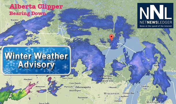 An Alberta Clipper is bearing down on Thunder Bay and Northwestern Ontario