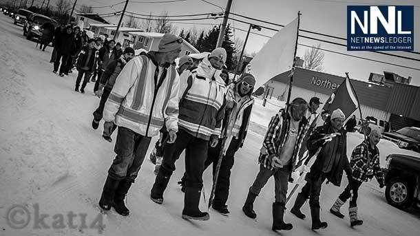 Photo of the Walkers as they journeyed through Moosenee - Image Chris Kat
