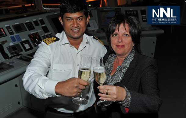 Captain Vijayendra Gurukant Chodankar and Ms Sylvie Vachon, President and CEO of Montreal Port Authority. Captain Chodankar will be awarded the 2014 Gold-Headed Cane on January 3 during an official ceremony to be held at Montreal Port Authority Headquarters. - Photo Montreal Port Authority