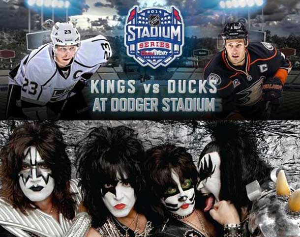 Legendary American rock band KISS will bring down the house at Dodger Stadium as part of the 2014 Coors Light NHL Stadium Series™ outdoor game between the Los Angeles Kings and Anaheim Ducks on Saturday, Jan. 25 2014.