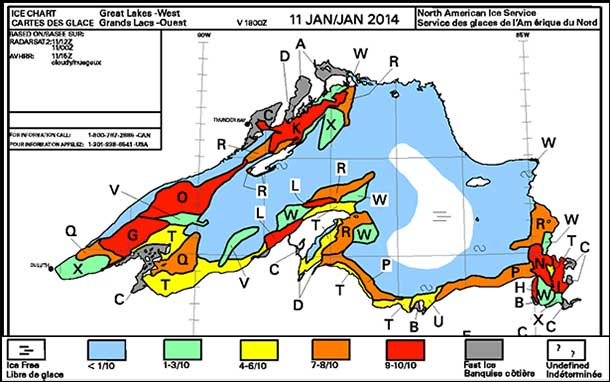 Latest Lake Superior Ice Coverage Report from Government of Canada.