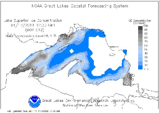 Lake Superior Ice depth map