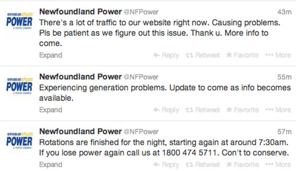 Newfoundland Power started Tweeting about problems. Then the lights went out.